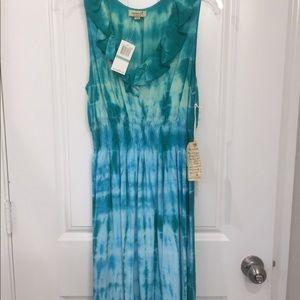 OneWorld Blue & Green Tie Dye Knee Length Dress